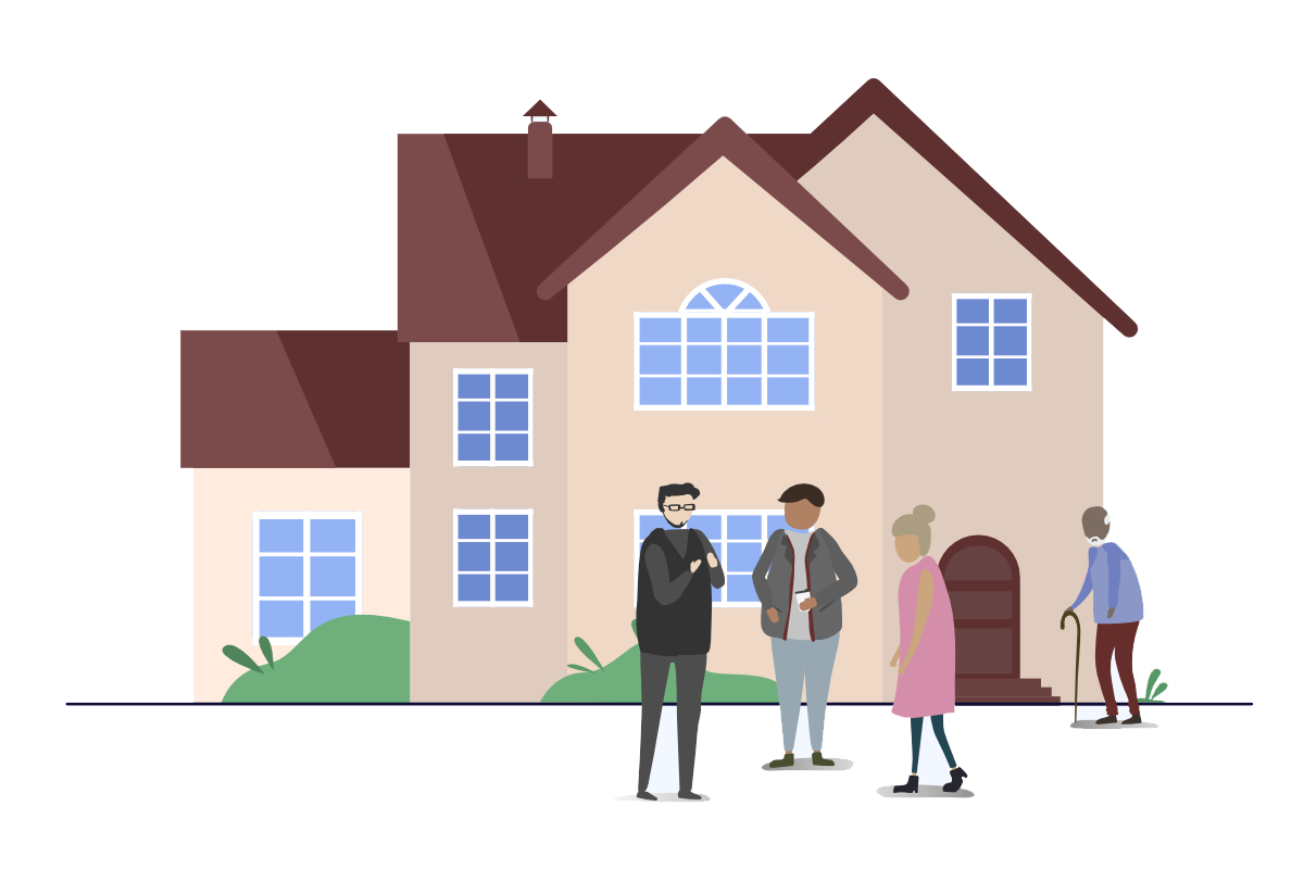 Image of house with people